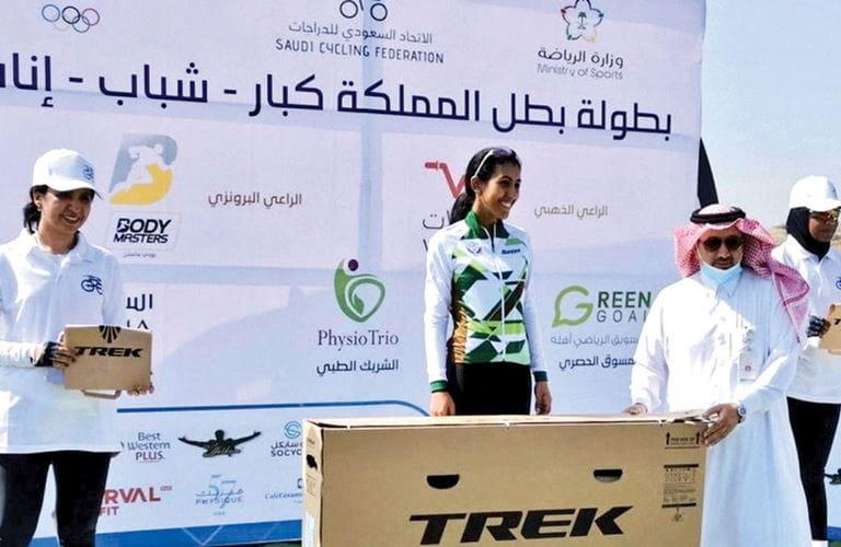Aramcon the first Saudi woman cycling champ
