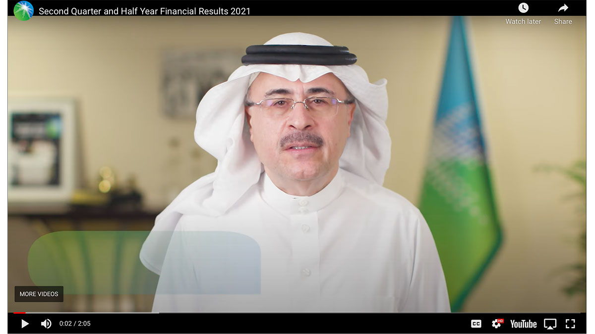 Aramco announces strong second quarter, half-year 2021 results